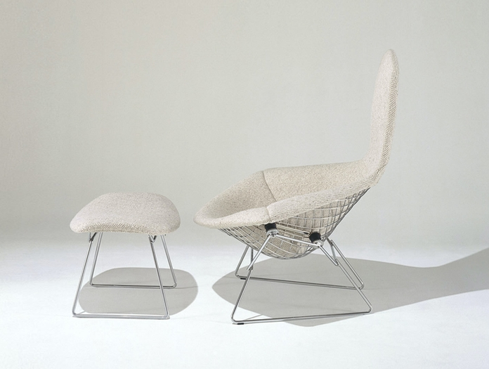 Knoll Harry Bertoia Bird Chair And Footstool Side