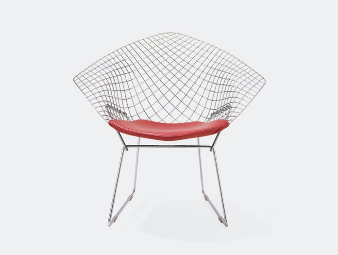 Knoll Harry Bertoia Diamond Chair Chrome Red