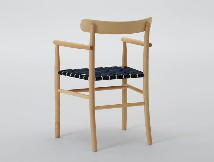 Maruni lightwood armchair back maple blue webbing