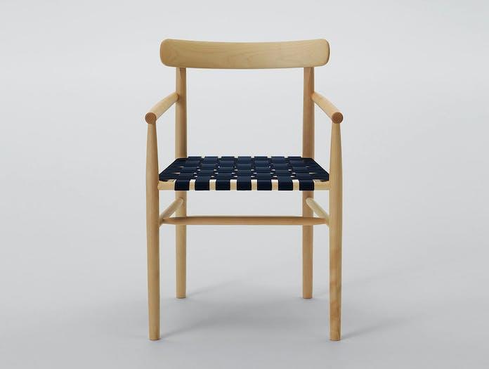Maruni lightwood armchair maple blue webbing