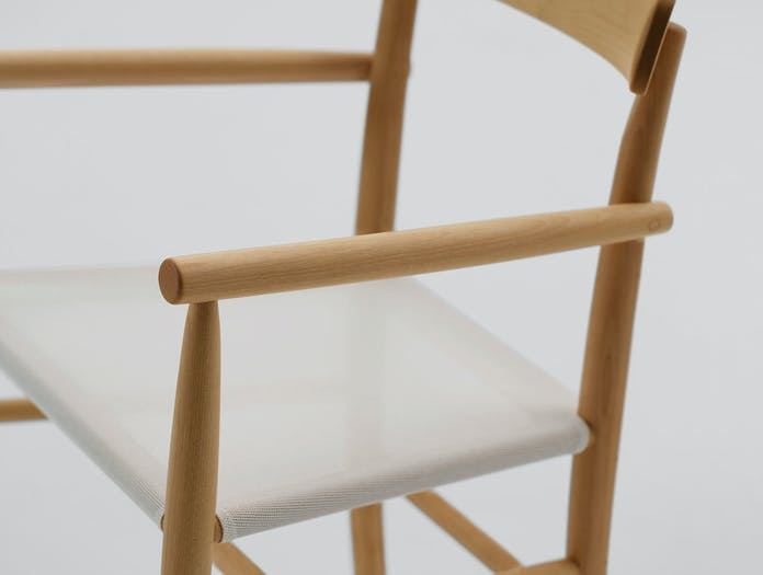 Maruni lightwood armchair maple mesh detail