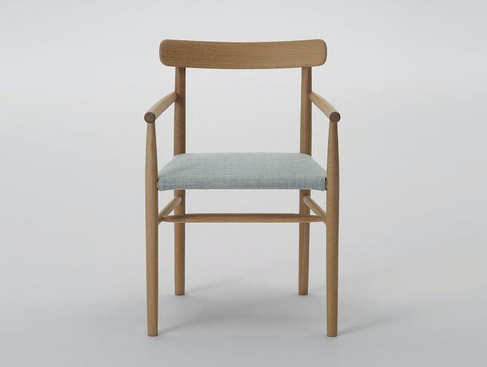 Maruni lightwood armchair maple remix upholstery