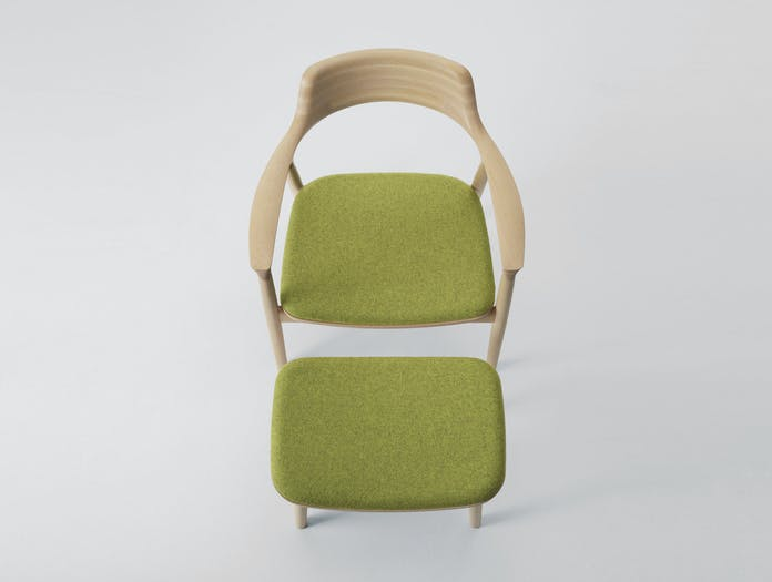Maruni Hiroshima Lounge Chair Ottoman Beech