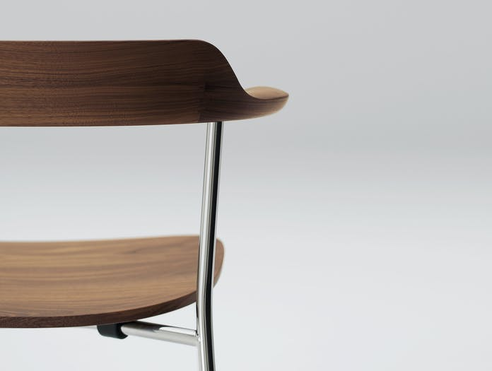 Maruni Hiroshima Stackable Chair Walnut Back Detail