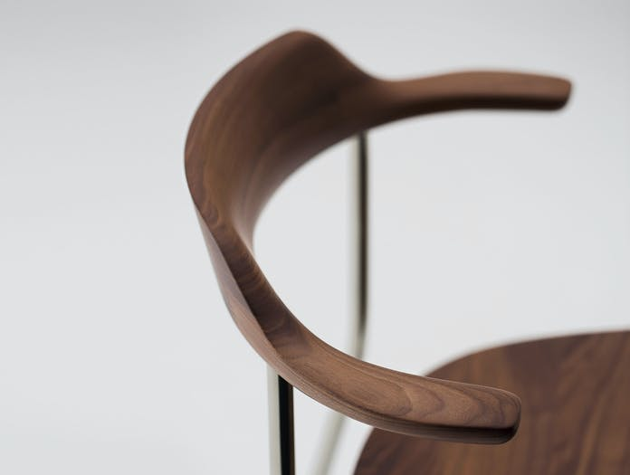 Maruni Hiroshima Stackable Chair Walnut Detail