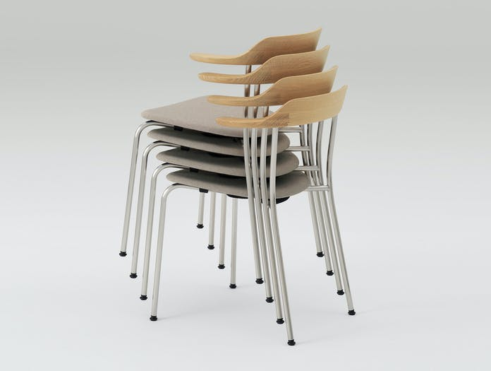 Maruni Hiroshima Stacked Chairs Oak