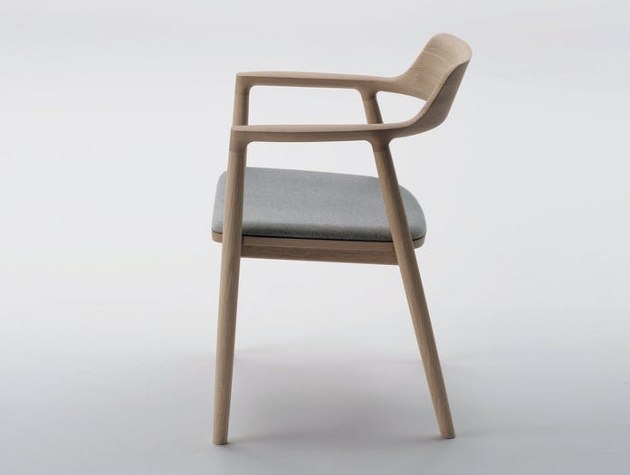 Maruni Hiroshima Armchair Oak Fabric Side