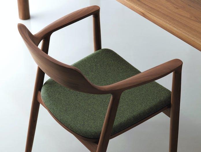 Maruni Hiroshima Armchair Walnut Divina Seat Detail