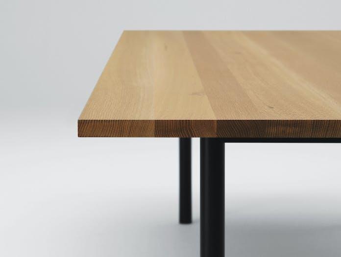 Maruni Malta Table Steel Oak Detail