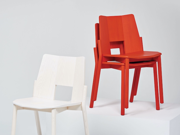 Mattiazzi Tronco Chair Red Stack Industrial Facility