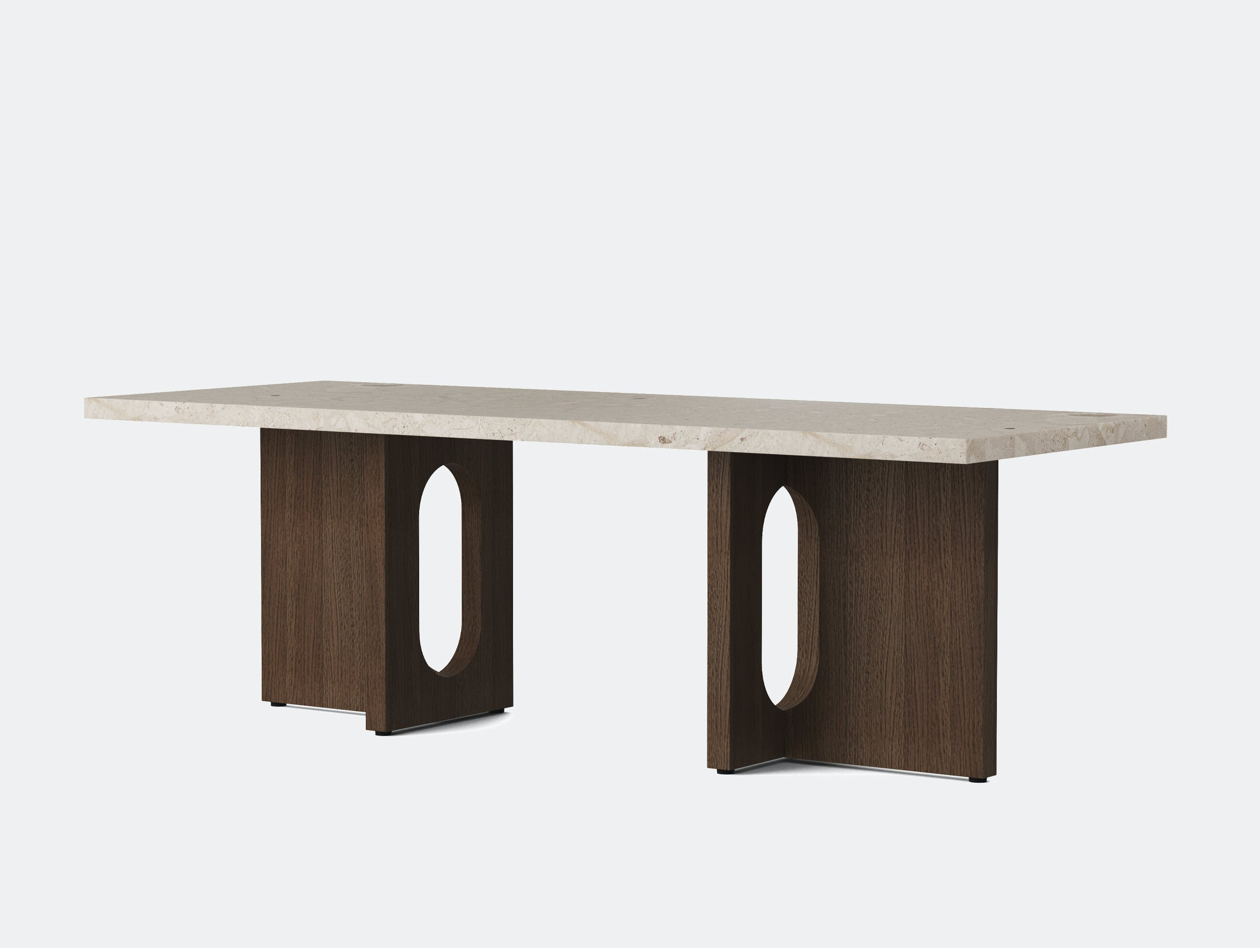 Menu androgyne lounge table dark stained oak breccia top