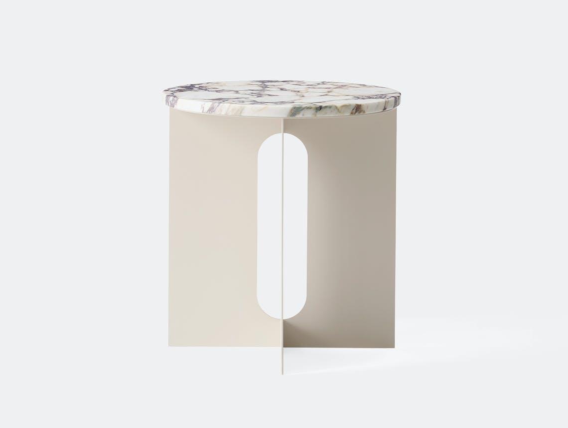 Menu androgyne side table ivory calacatta viola marble