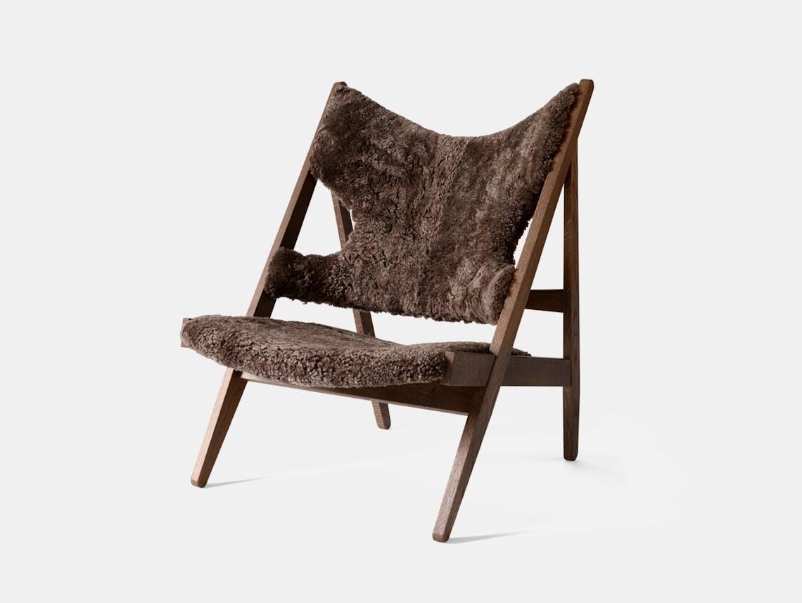 Menu knitting lounge chair dark stained oak root