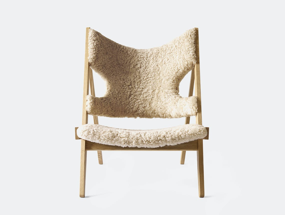 Menu knitting lounge chair natural oak nature frnt