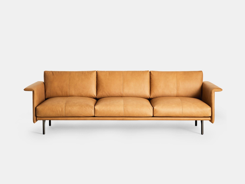 Montis otis sofa three seat tobacco leather front
