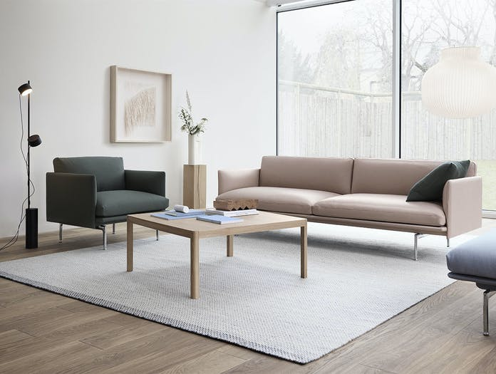 Muuto outline 3 seater beige refine leather studio chair twill weave 990 workshop table post lamp ply