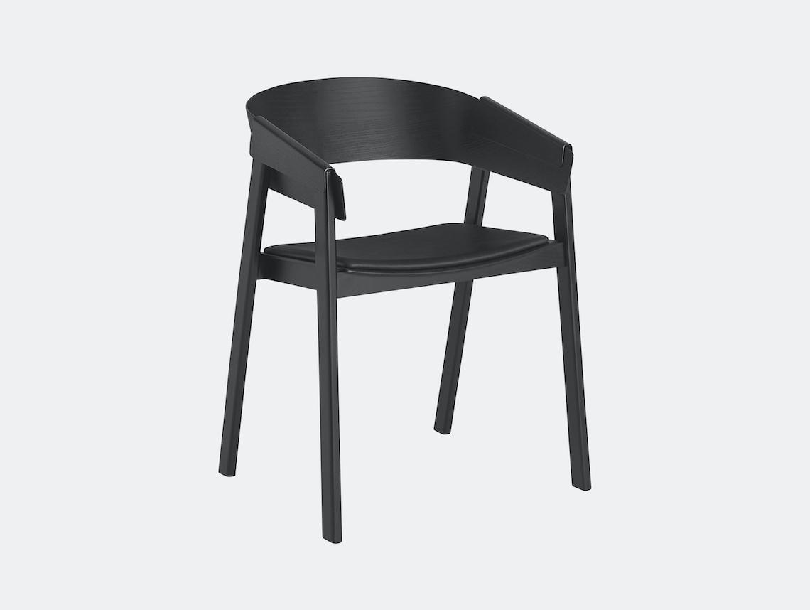 Muuto Cover Chair Black Black Silk Leather Thomas Bentzen
