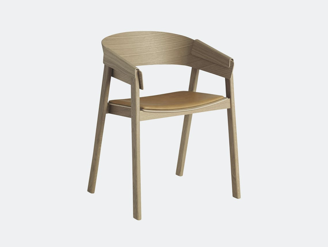 Muuto Cover Chair Oak Cognac Silk Leather Thomas Bentzen