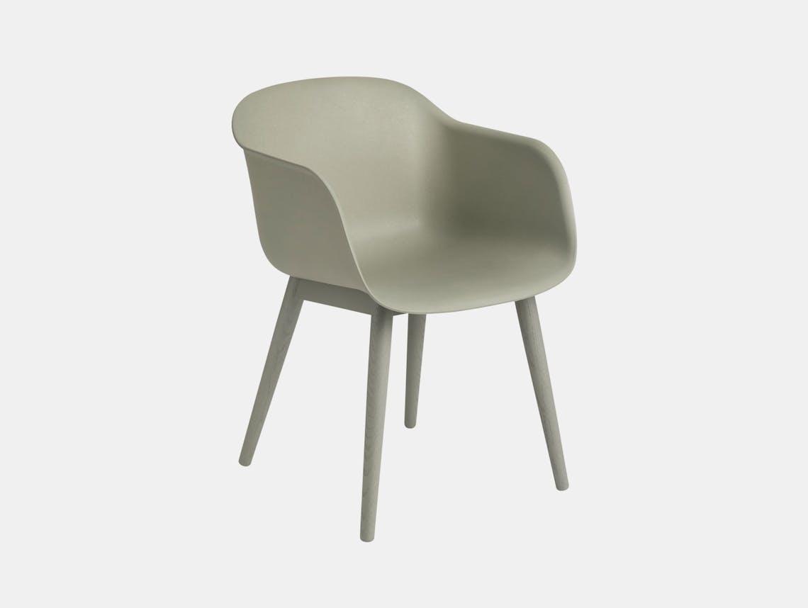 Muuto Fiber Chair Wood Base Dusty Green Iskos Berlin