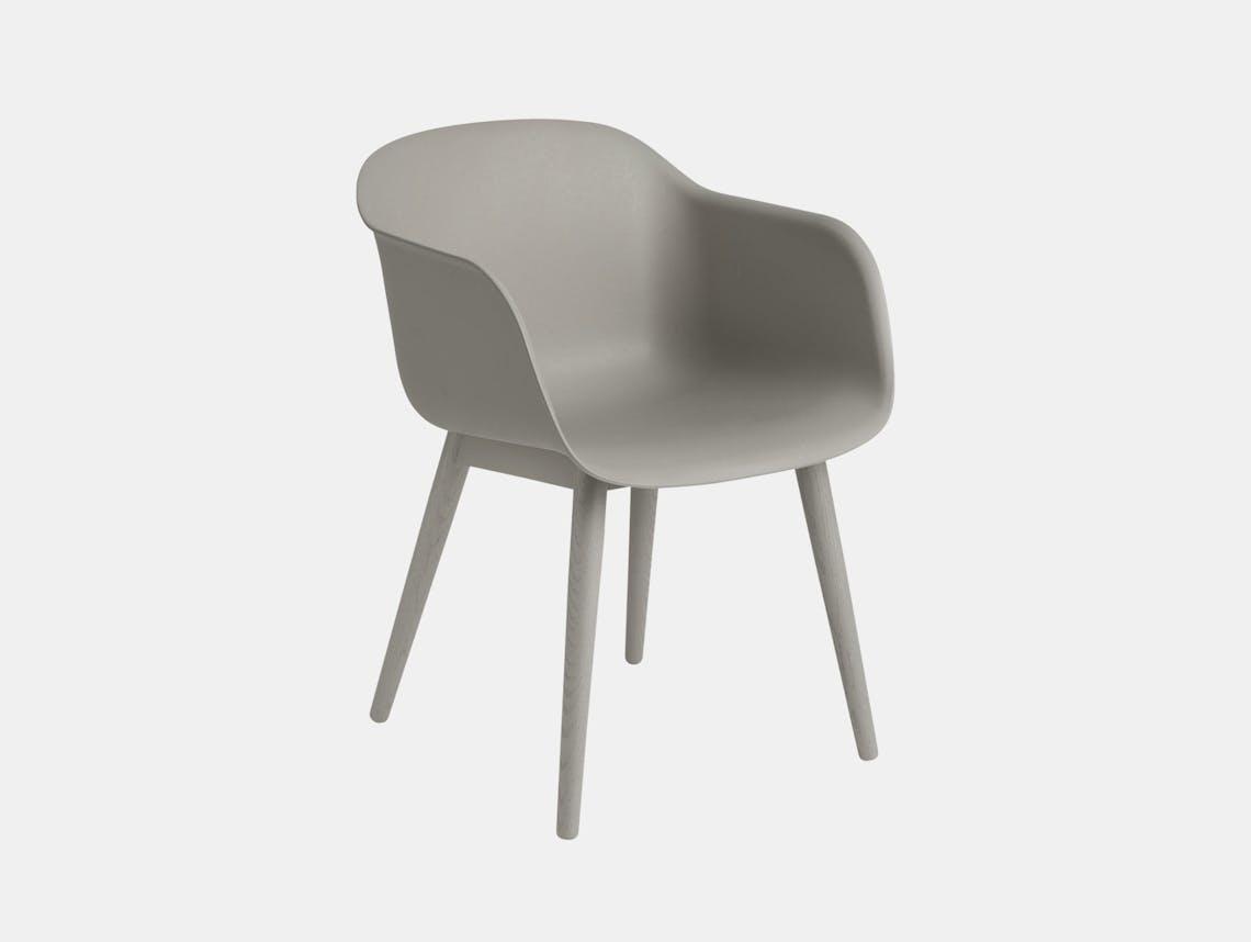 Muuto Fiber Chair Wood Base Grey Iskos Berlin
