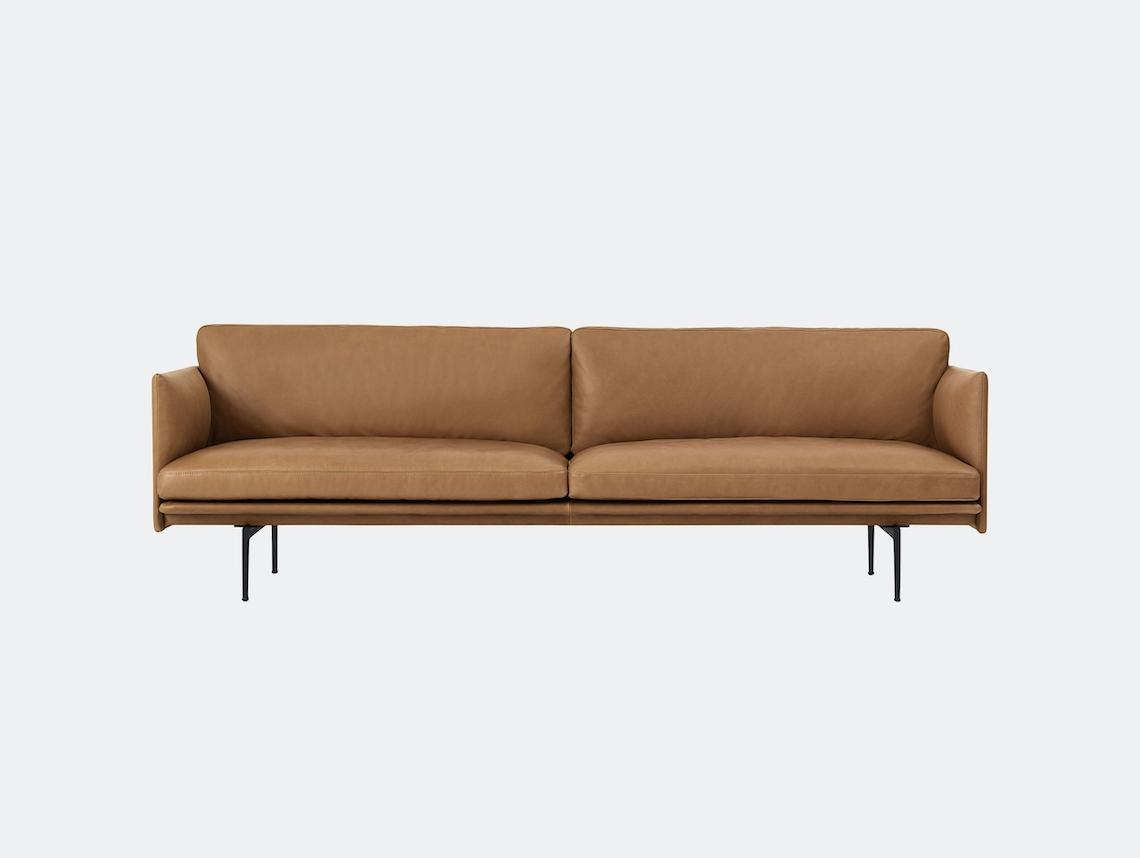 Muuto Outline 3 Seater Cognac Silk Leather Anderssen Voll