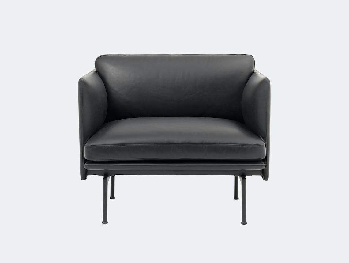 Outline Studio Armchair Black Silk Leather Anderssen Voll