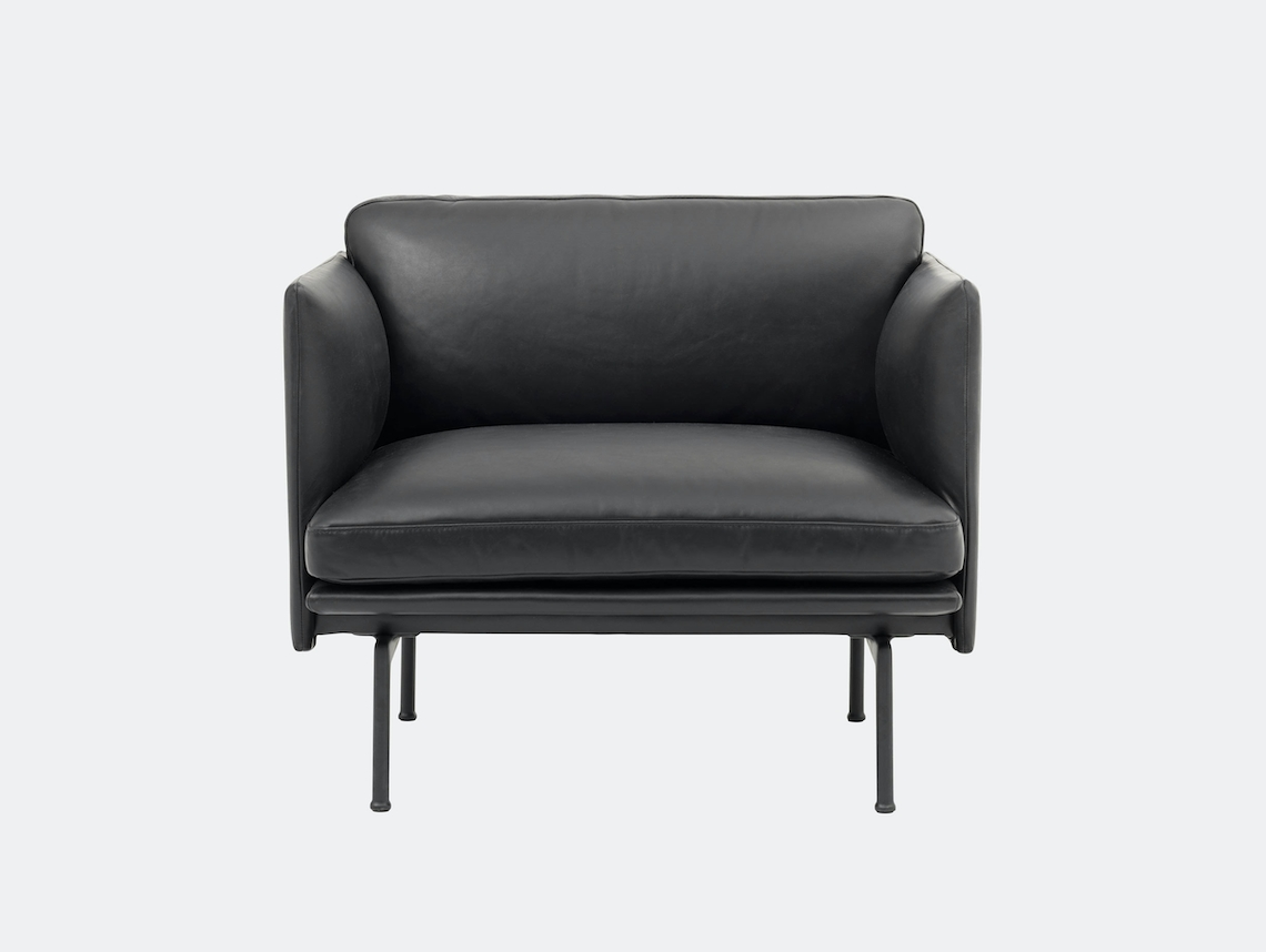 Outline Studio Armchair Black Silk Leather Anderssen Voll