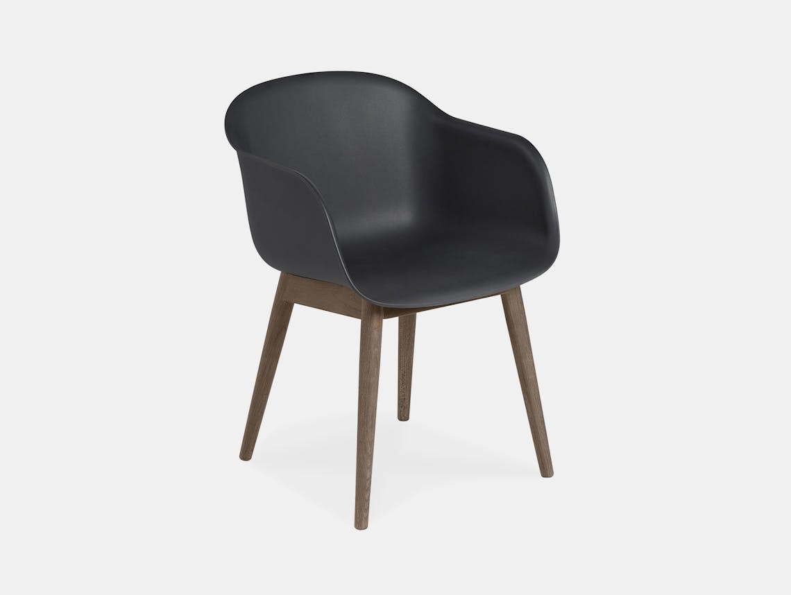 Muuto fiber armchair wood base black dark stained brown