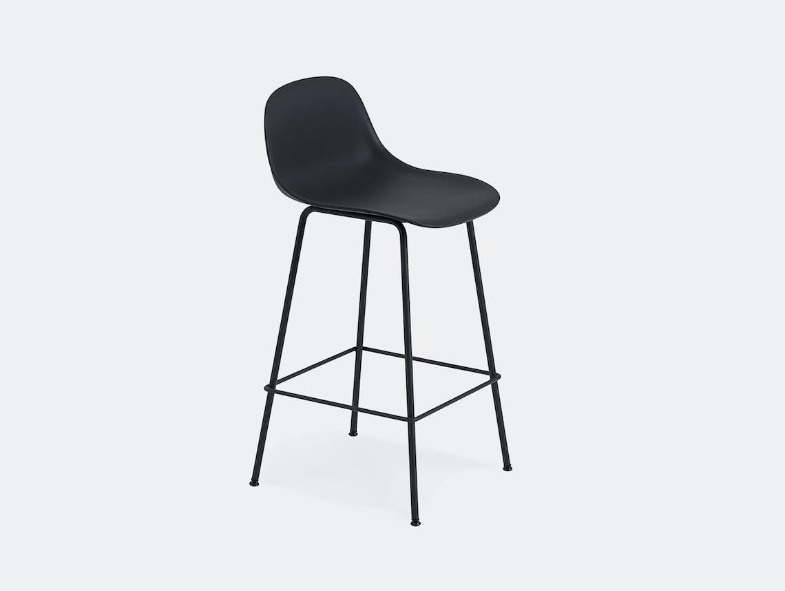 Muuto fiber bar stool tube black backrest