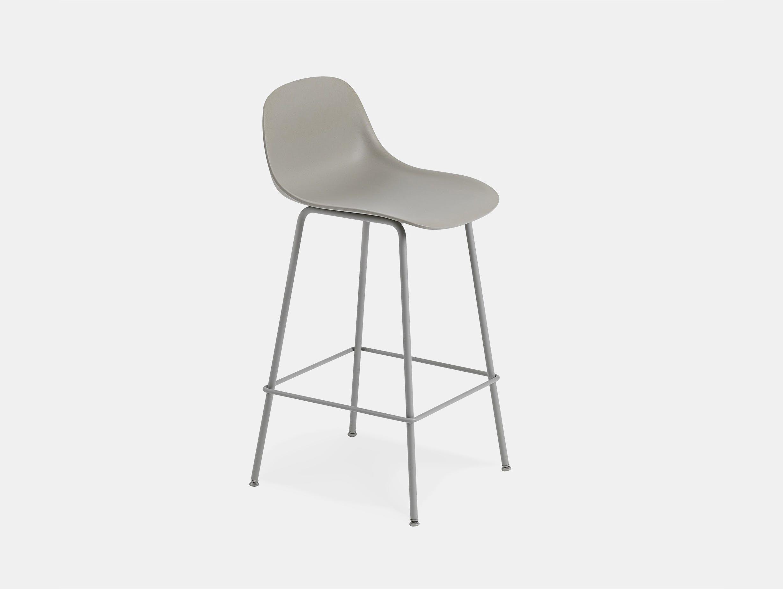 Muuto fiber bar stool tube grey backrest