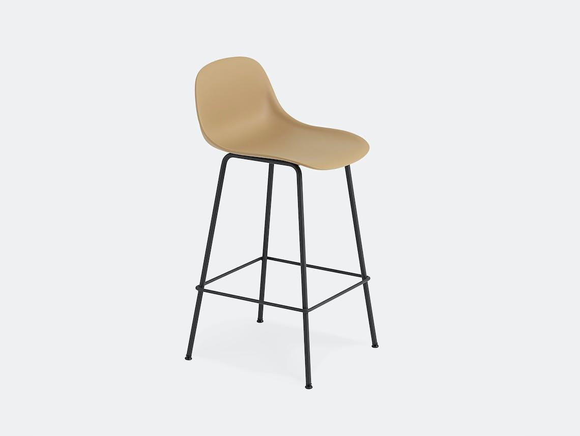 Muuto fiber bar stool tube ochre black backrest