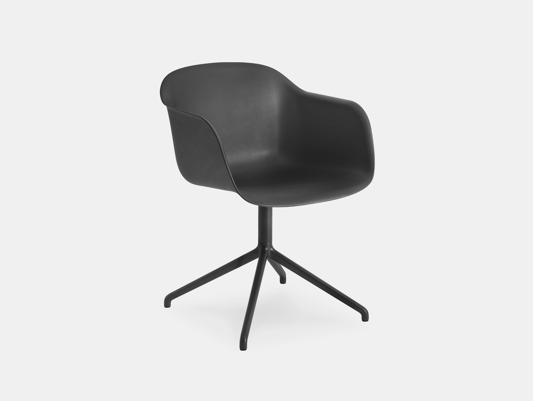 Muuto fiber swivel armchair black