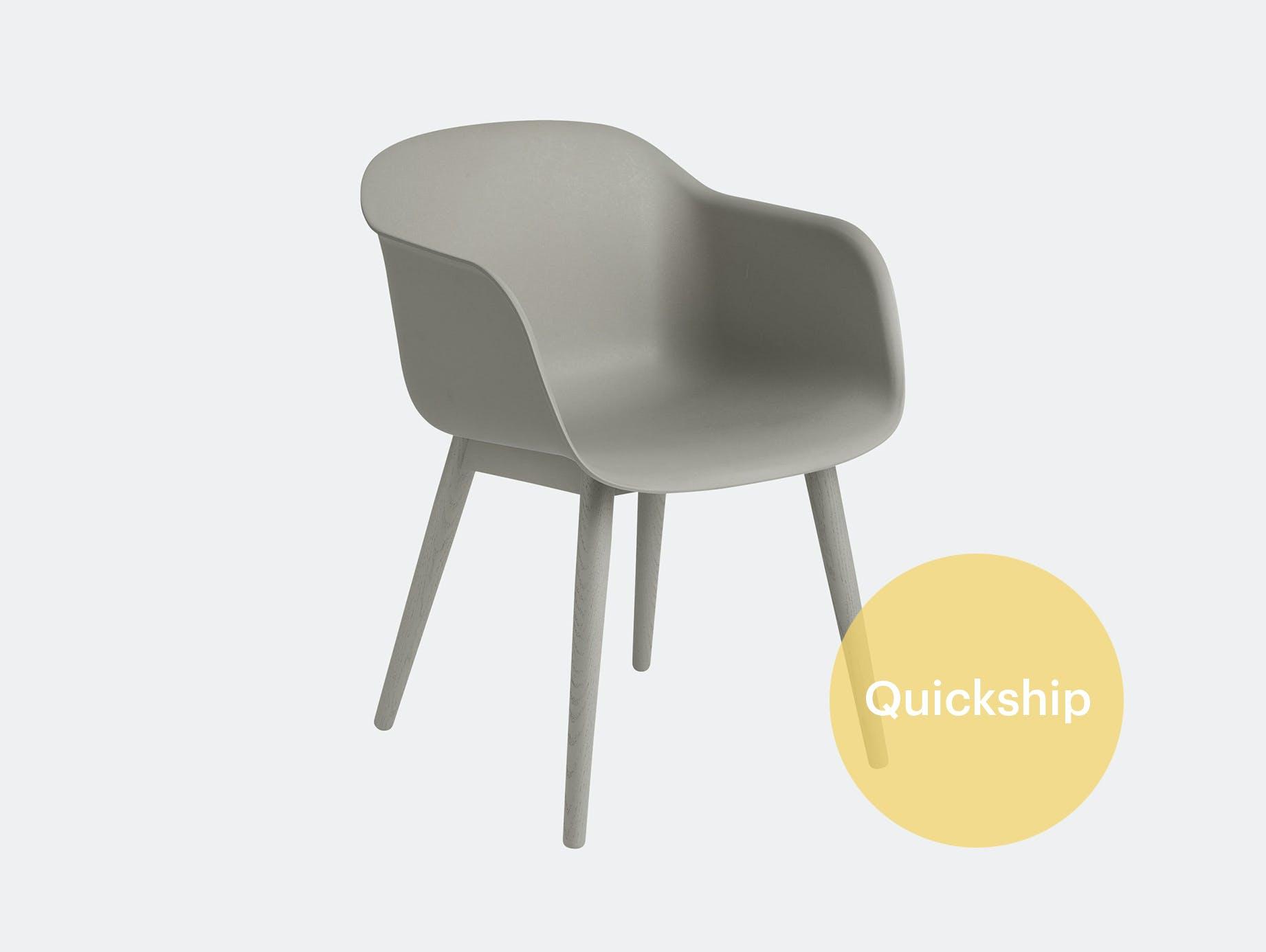 Muuto fiber swivel armchair grey