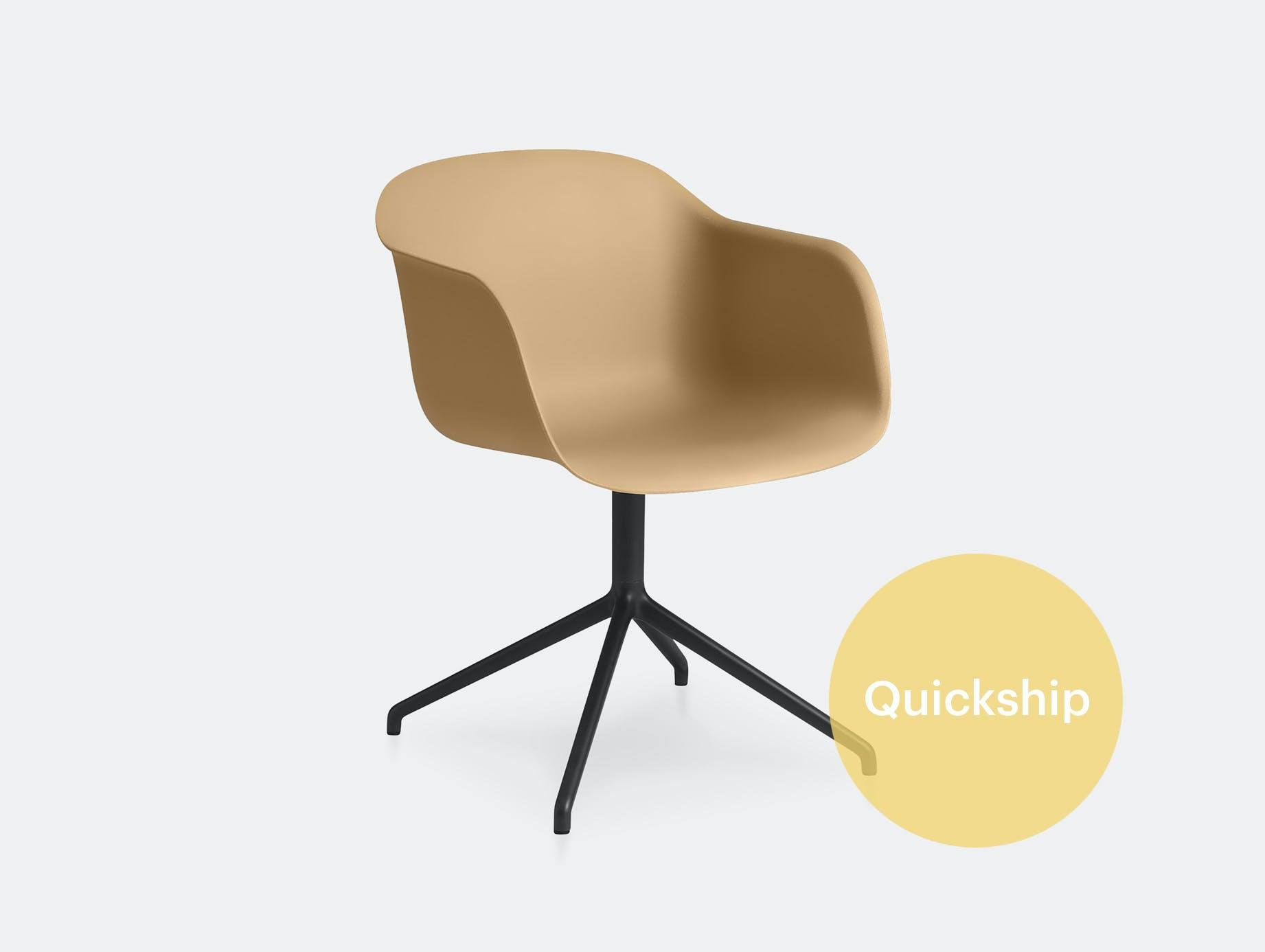 Muuto fiber swivel armchair ochre blk
