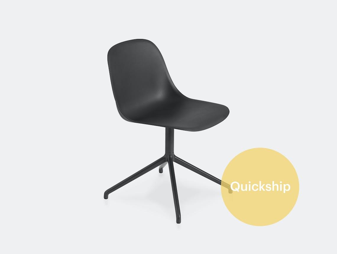 Muuto fiber swivel side chair blk