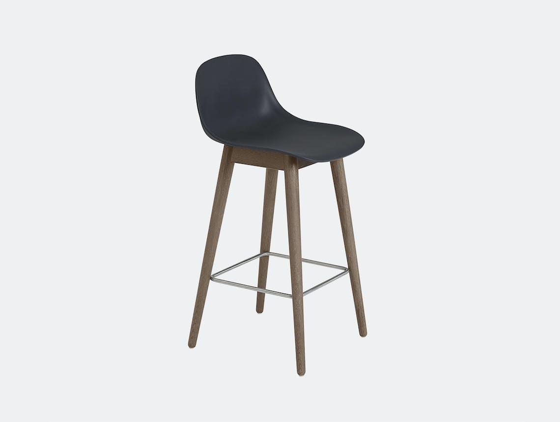 Muuto fiber wood bar stool dark stained brown black backrest