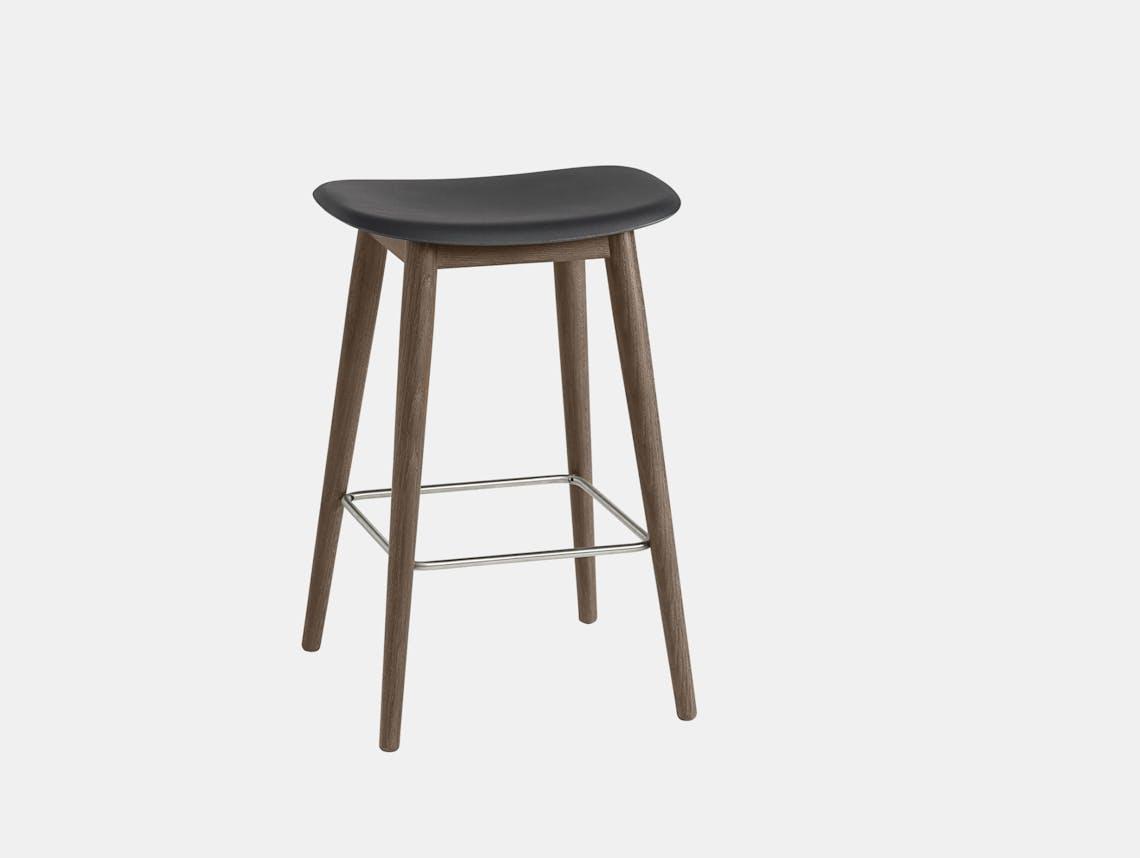 Muuto fiber wood bar stool dark stained brown black