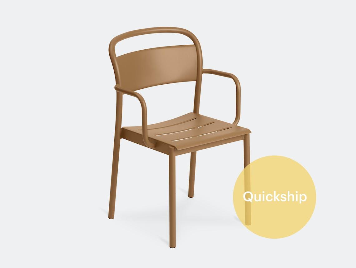 Muuto linear armchair burnt orange front qs