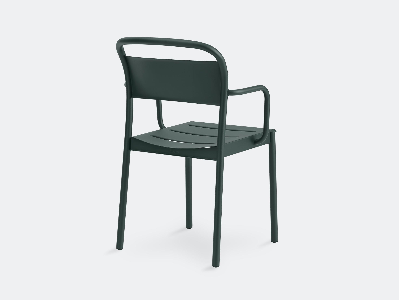 Muuto linear armchair dark green back