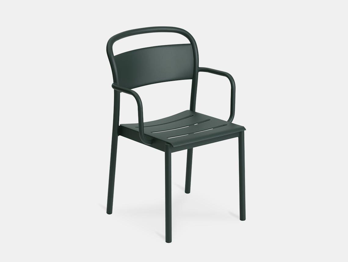 Muuto linear armchair dark green front