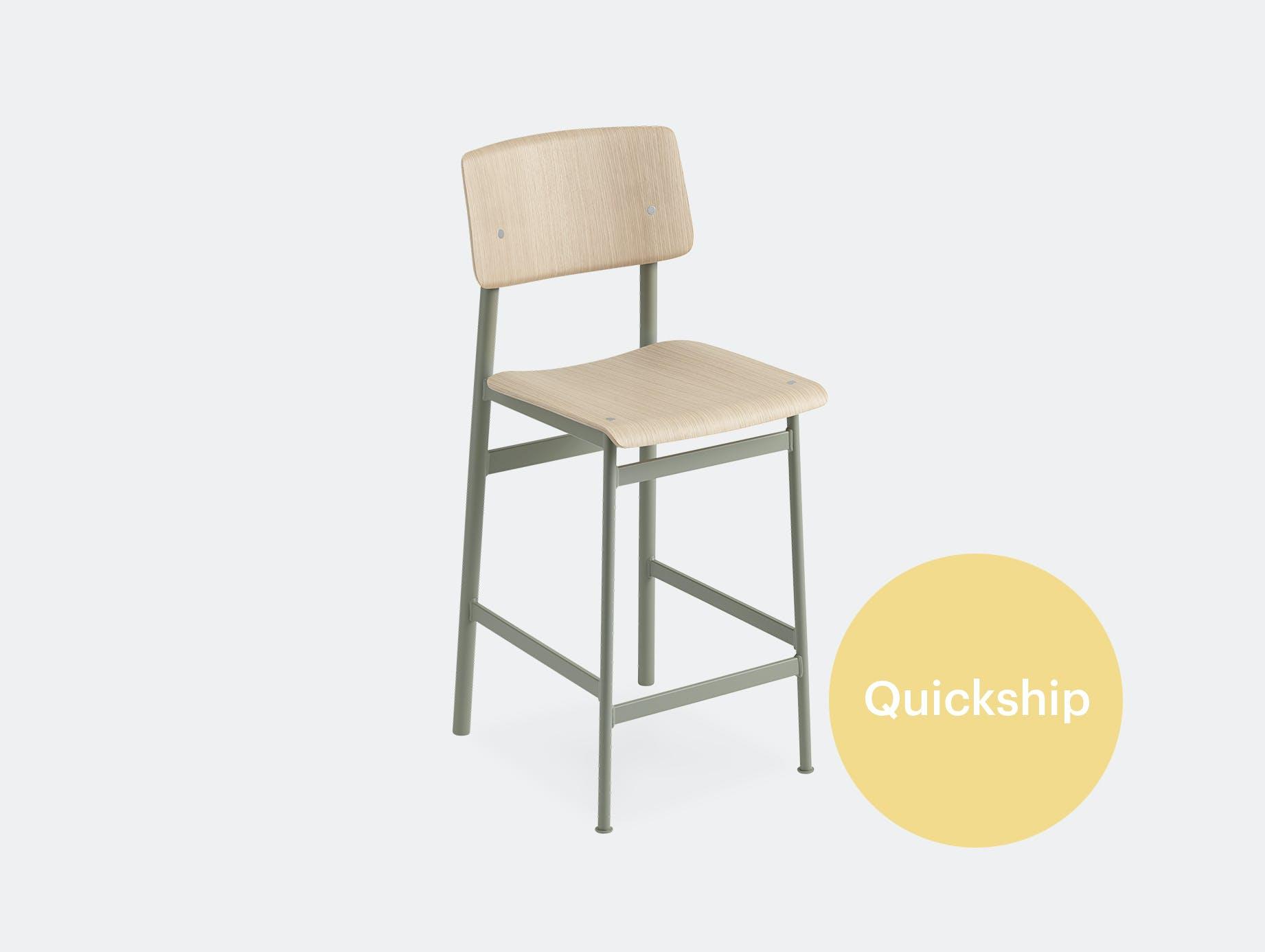 Muuto loft bar stool oak dusty green qs