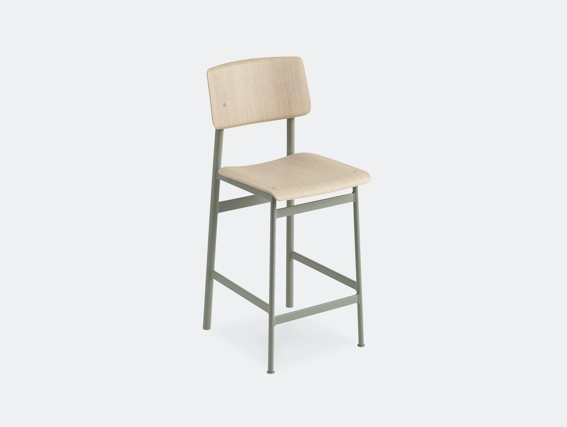 Muuto loft bar stool oak dusty green