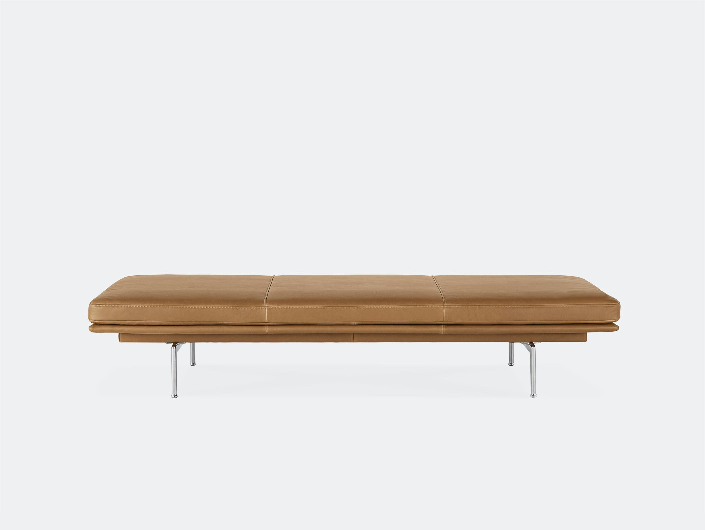 Muuto outline daybed cognac brown leather aluminium