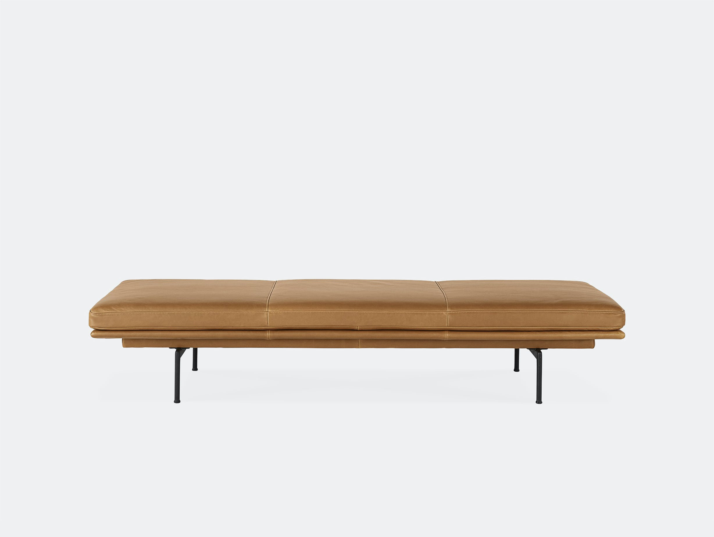 Muuto outline daybed cognac brown leather black