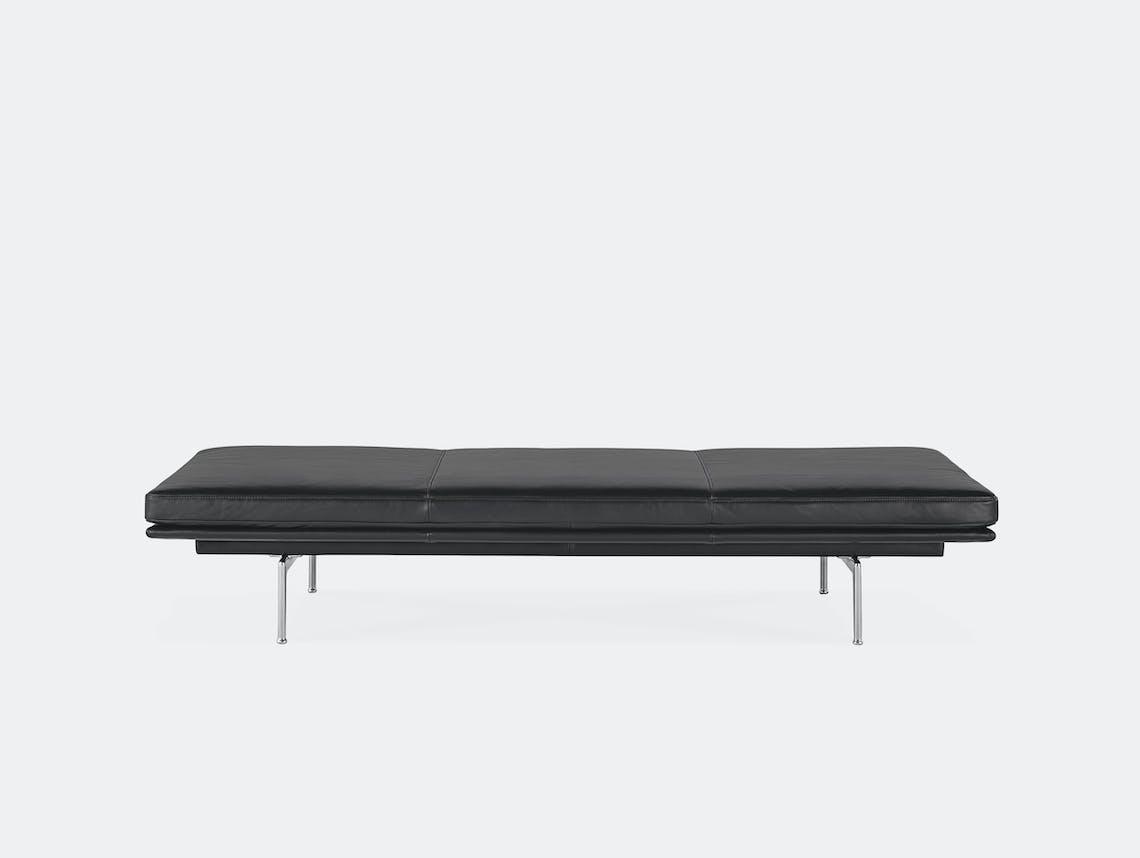 Muuto outline daybed refine black leather aluminium