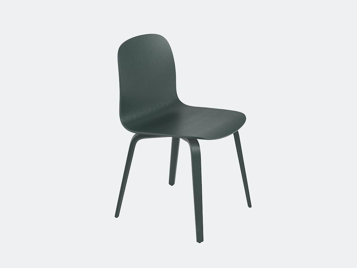 Muuto visu chair wood base dark green