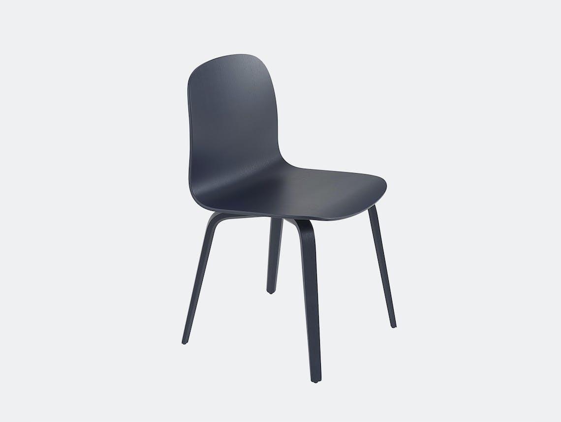 Muuto visu chair wood base midnight blue