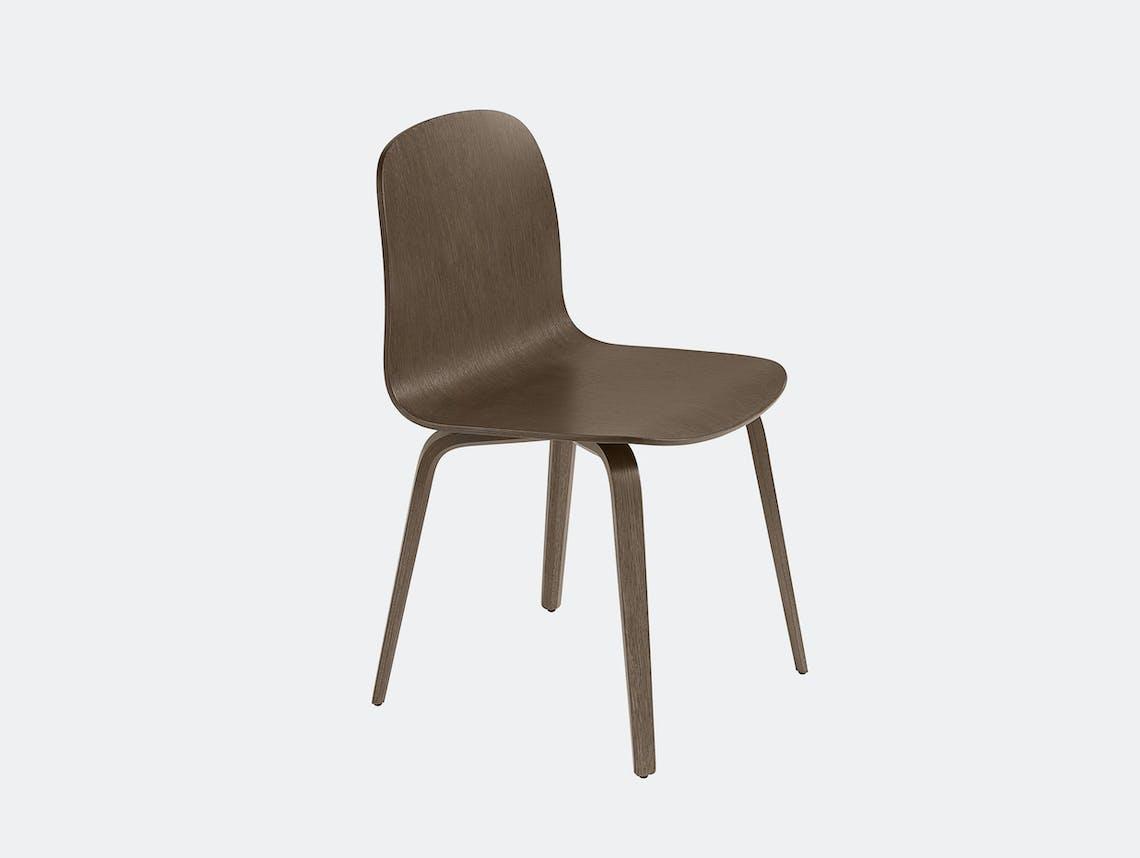 Muuto visu chair wood base stained dark brown