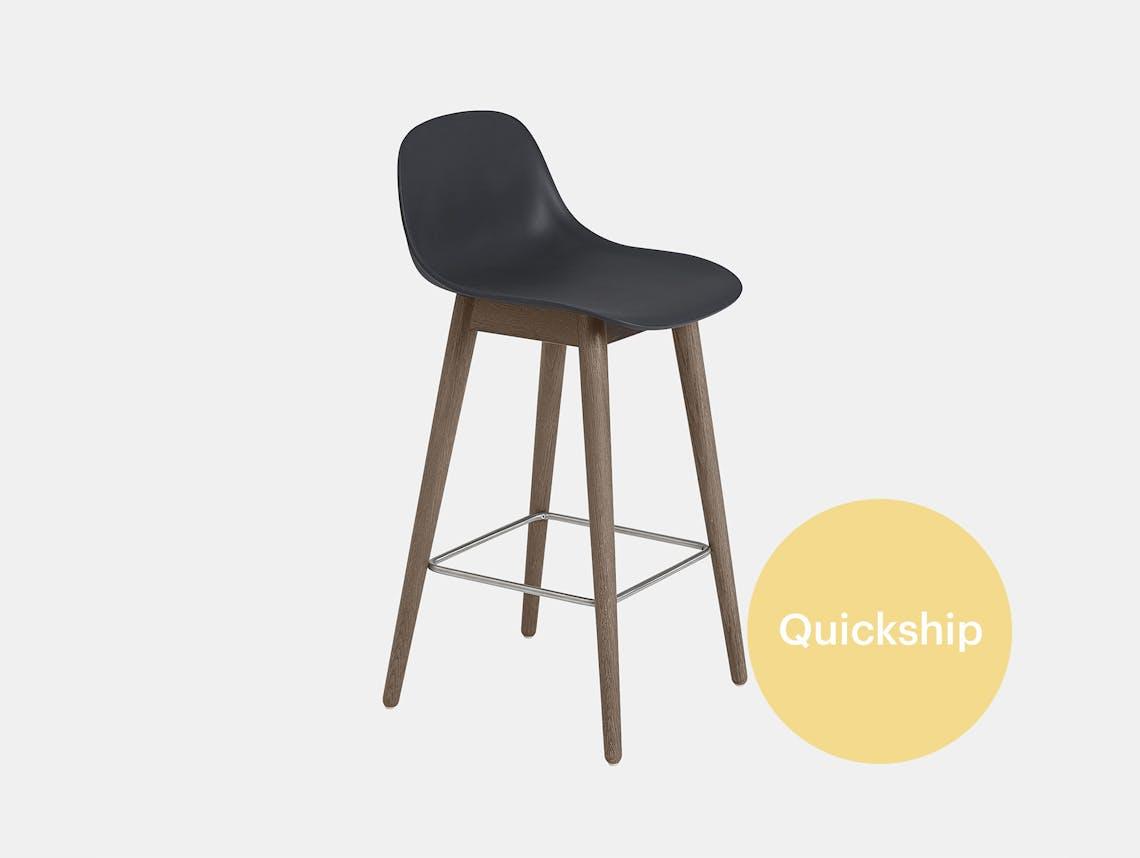 Qs muuto fiber wood bar stool dark stained brown black backrest