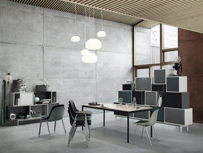 Muuto Fiber A Base Stacked Base Table Oak Veneer Fluid Lamps